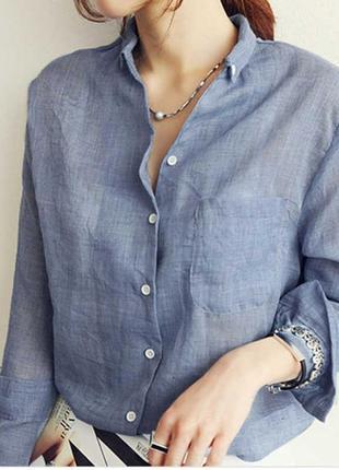 Воздушная легкая рубашка туника  платье классика серая