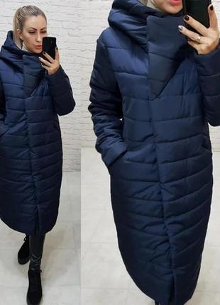 Длинная куртка пальто курточка пальто пуховик кокон с капюшоно...