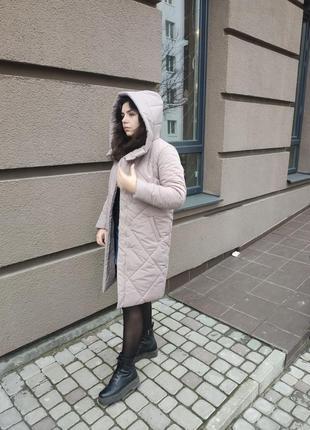 Теплая зимняя куртка пуховик пальто с капюшоном плащевка+силикон