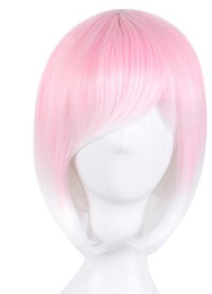 Парик каре белый с розовым омбре двухцветный с челкой 5523