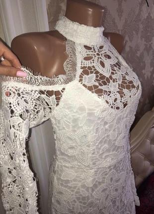Белое платье на новый год из кружева ажурное