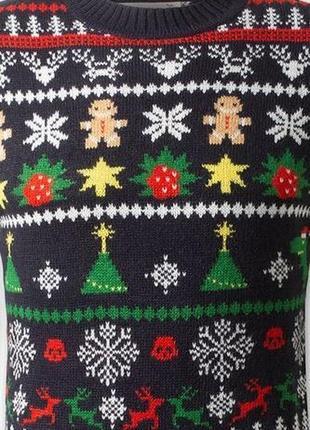 Мужской синий свитшот пуловер свитер с красивым мотивом новогдний