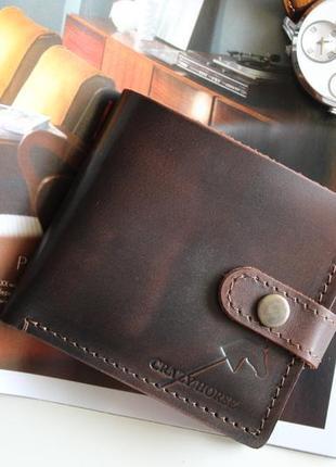 Мужское кожаное портмоне с монетницей и застежкой joseph (dark...