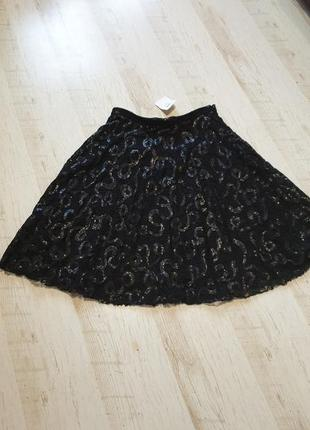 Нарядная кружевная миди юбка пайетки ottorose