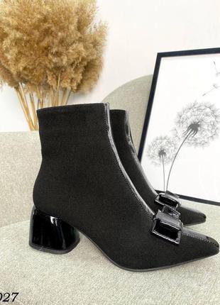Удобные ботинки с бантиком лаковый каблук