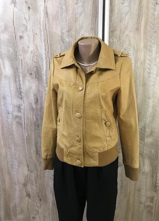 Натуральная кожаная кожа куртка авиатор светлая коричневая cam...