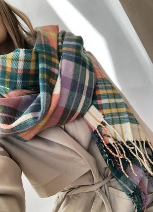 Объемный палантин, теплый шарф в клетку monki