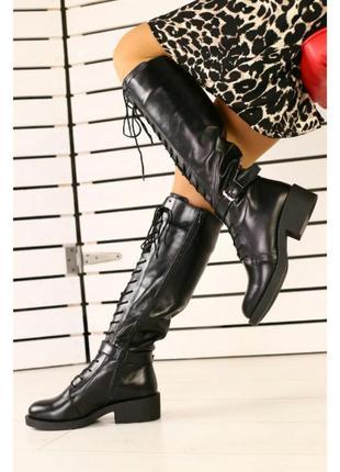 Крутейшие сапоги на высокой шнуровке кожа зима