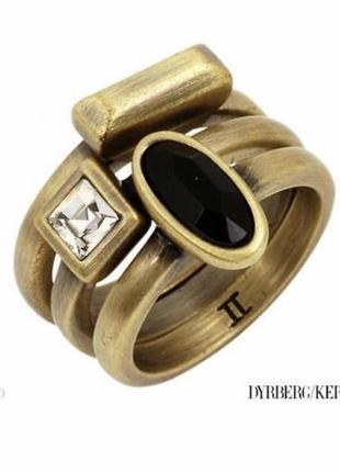 Кольцо 3 в 1 стильное модное дорогой бренд dyrberg kern размер 17