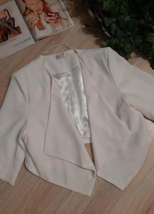 Вечерний белый кардиган накидка пиджак жакет