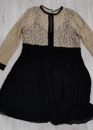 Ликвидация товара 🔥   нарядное черно бежевое платье до колен с...