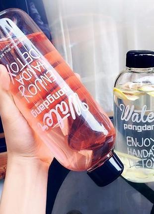 Бутылка для воды Detox, с чехлом, 1000 мл, Модная, фотогеничная