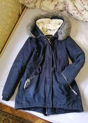 Парка на овчине, зимняя курточка, куртка