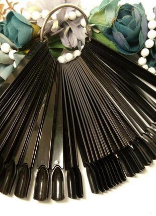 Палитра, типсы - веер для лака,на кольце черная на 50 образцов
