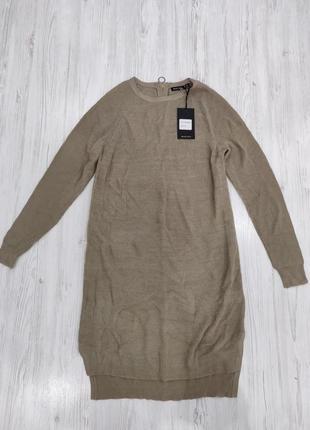 Вязаное коричневое пеплое платье с длинными рукавами