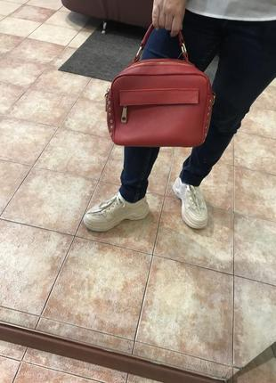 Сумка, кожа, красная сумка