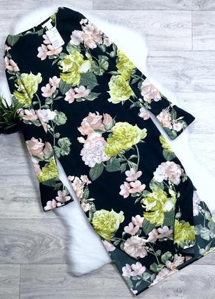 Платье миди в цветочный принт с разрезами по боками