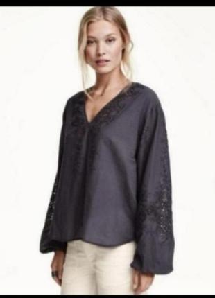 Рубашка блузка прошва свободного кроя от h&m