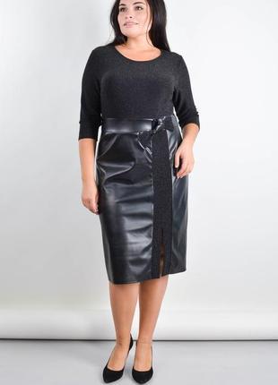 Размеры 50-64! нарядное платье эко-кожа с люрексом бетти черны...