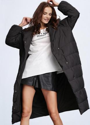 Пуховик одеяло женский длинный. пуффер пальто на био пухе, раз...