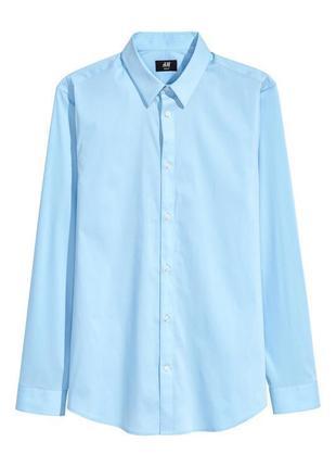 Голубая рубашка h&m из эластичного смесового хлопка ! slim fit !