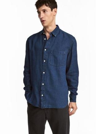 Льняная джинсовая рубашка h&m , regular fit !