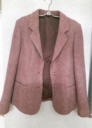 Пиджак шерстяной твидовый размер 36 / s / 44