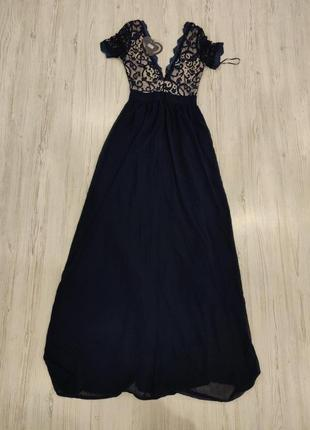 Ликвидация товара 🔥   синее вечерне платье с ружевным верхом