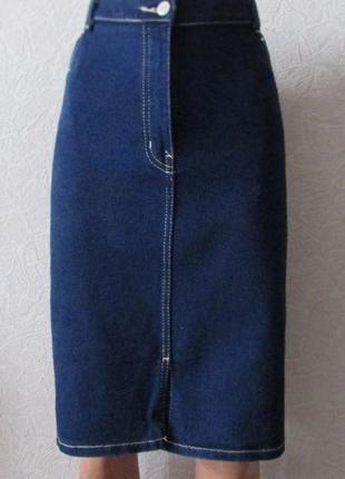 Юбка джинс коттон стрейч с заклепками, большой размер!