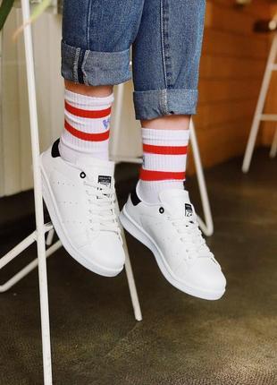 Шикарные женские кроссовки adidas stan smith white black 😍