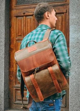 Кожаный рюкзак для города, рюкзак для ноутбука, мужской коричн...