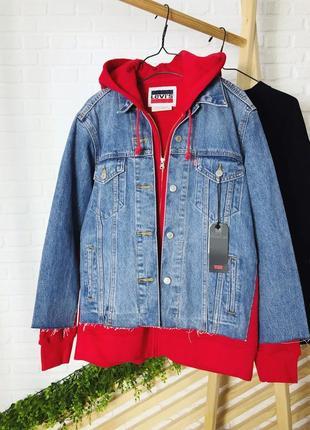 Джинсовая куртка, джинсовка с капюшоном от levi's levis premiu...