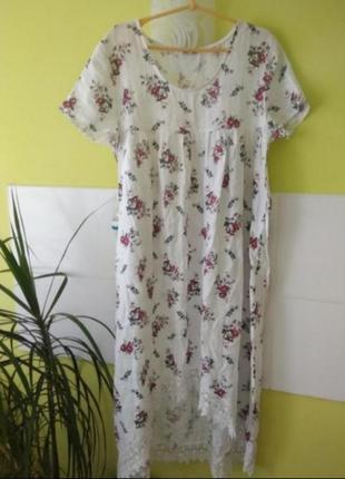 Льняное платье цветочный принт с кружевом  италия