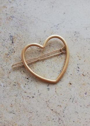 Заколка сердце, матовое золото, большое сердце