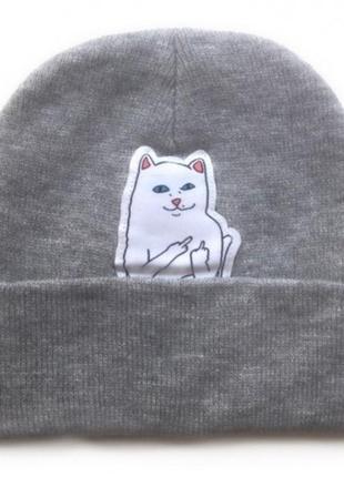 Шапка с котом показывающим фак, серий