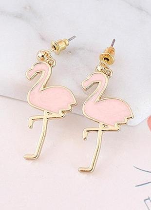 Серьги фламинго 1 пара