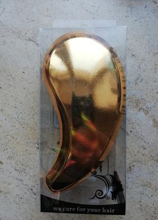 Расческа для волос золотая, зеркальная