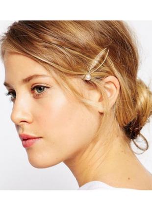 Стильная заколка для волос с жемчужной, золотая, 1 шт