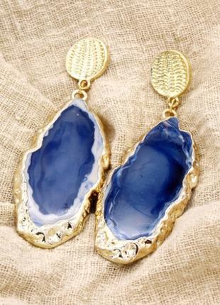 Серьги из камня, синие с позолотой