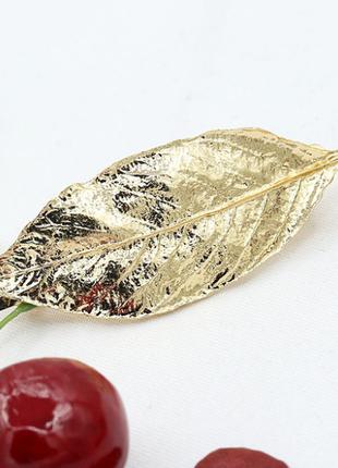 Заколка листья золото зажим