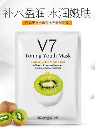 Тканевая маска bioaqua v7 toning youth mask, киви
