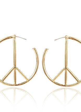 Серьги peace золото