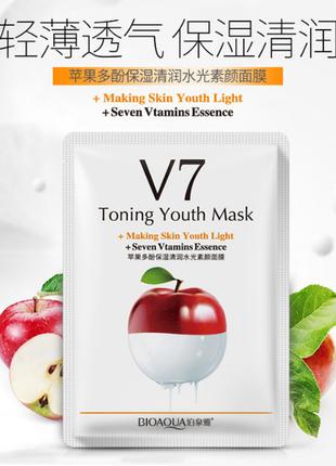 Тканевая маска bioaqua v7 toning youth mask, яблоко