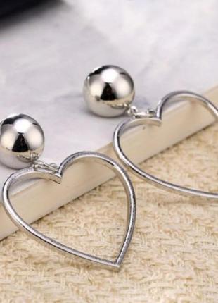 Серьги сердце серебро