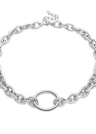 Цепочка с крупными звеньями и кольцом, серебро