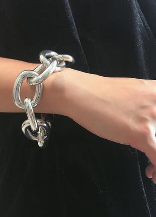 Браслет с крупными звеньями, серебро
