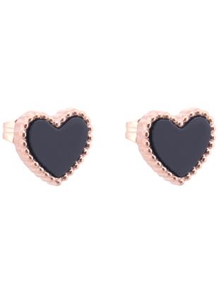 Серьги сердца черные