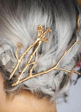 Заколка-невидимка для волос в форме веточки, большая, золото