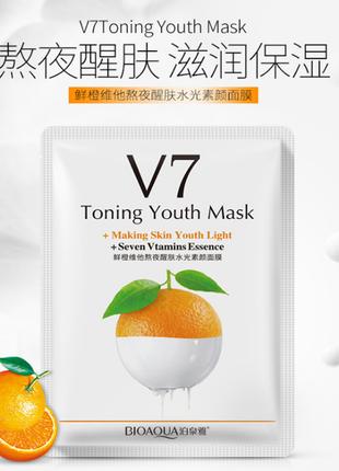 Тканевая маска bioaqua v7 toning youth mask, апельсин