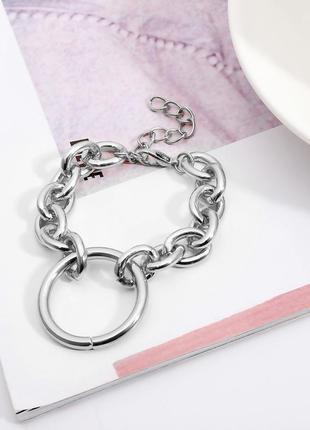 Браслет с крупными звеньями и кольцом,серебро